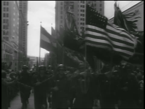 b/w 1954 soldiers carrying flags marching in parade after korean war / seattle / newsreel - 1954 stock videos and b-roll footage