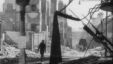 1942 montage soldiers, civil defense workers, and civilians in the rubble of world war ii bombing damage / bristol, england, united kingdom - world war ii stock videos & royalty-free footage