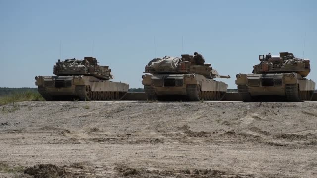 soldiers conduct test fires with m1 abrams tanks and bradley fighting vehicles at fort hood, texas, 12 august 2019 as part of an exportable combat... - tank stock videos & royalty-free footage