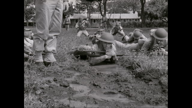 ws pan soldiers  crawling on elbows while military training / united states - military training stock videos & royalty-free footage
