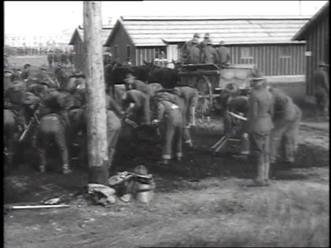 ws soldiers digging with pickaxes / camp sherman chillicothe ohio united states - chillicothe stock videos & royalty-free footage