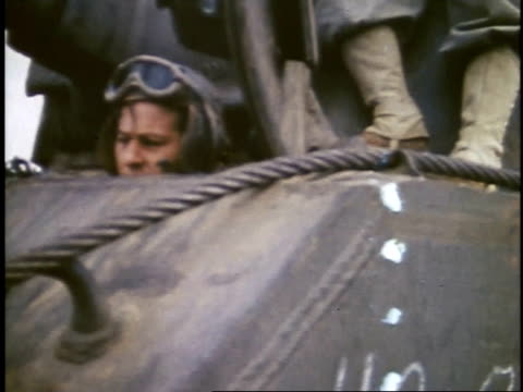 soldiers driving tank named aileen off a ship / iwo jima japan - battle of iwo jima stock videos and b-roll footage