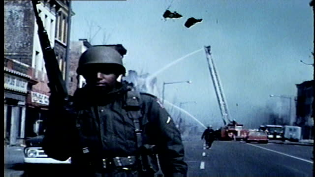 wgn soldiers firefighters in aftermath of chicago west side riots after martin luther king jr was assassinated in memphis on april 4 1968 - 1968 stock videos & royalty-free footage