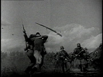 reenactment soldiers fleeing from strafing biplanes during world war i / western front - world war one stock videos & royalty-free footage