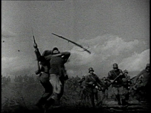 reenactment soldiers fleeing from strafing biplanes during world war i / western front - erster weltkrieg stock-videos und b-roll-filmmaterial