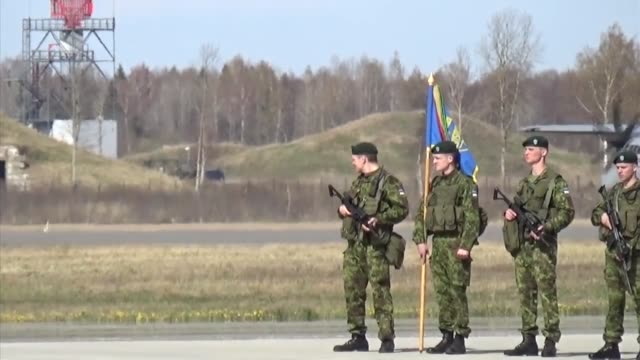 soldiers from 173rd infantry brigade combat team airborne arrive at amari air base estonia where they are greeted with a welcoming ceremony - brigade stock videos & royalty-free footage