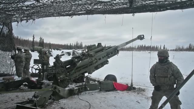 soldiers from 2nd battalion, 8th field artillery regiment fire a m777 155mm howitzer during a joint live fire exercise march 15, as part of the u.s.... - howitzer stock videos & royalty-free footage