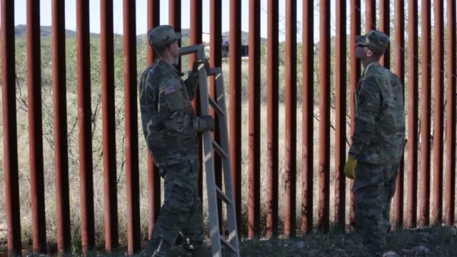 soldiers from 937th route clearance company install and weld concertina wire pickets near the sasabe port of entry to stop attempts to illegally... - step ladder stock videos & royalty-free footage