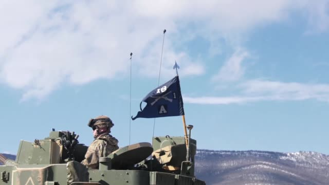soldiers from company a 1st battalion 18th infantry regiment qualify their m2 bradley crews in novo selo training area bulgaria - regiment stock videos & royalty-free footage