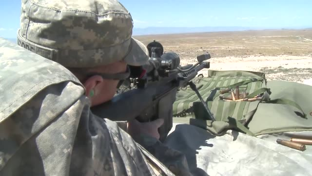 soldiers from the 1-82 cavalry, 41st ibct, oregon army national guard during their annual training period at orchard combat training center near... - sniper stock videos & royalty-free footage