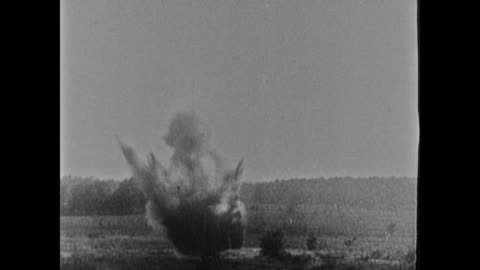 soldiers grouped in large fox hole in open field ground explosions w/ white smoke possibly 'white star' shells gas soldiers running out of hole onto... - world war one stock videos & royalty-free footage