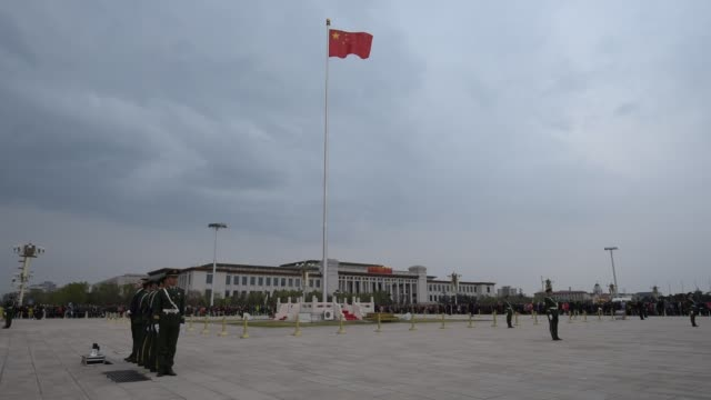 soldiers guard at the tiananmen square - chinese flag stock videos & royalty-free footage