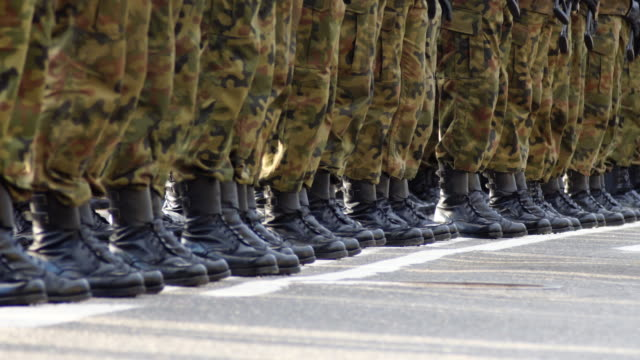 soldiers in formation during military ceremony - platoon stock videos and b-roll footage