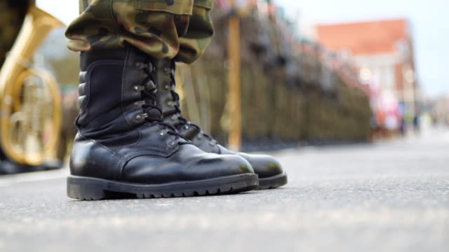 soldiers in formation during military ceremony - army exercise stock videos and b-roll footage