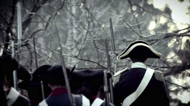soldiers in french revolution uniforms march behind a mounted military leader. - french revolution stock videos & royalty-free footage