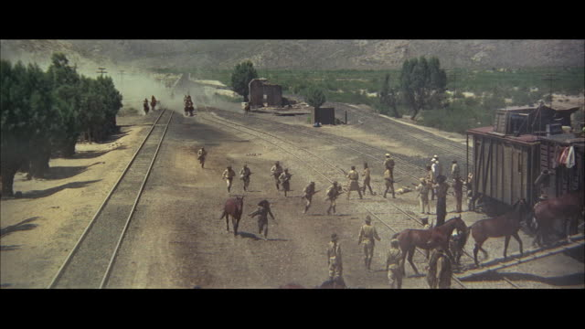 ws zo pan ha soldiers loading horses into freight trains, running away from approaching men on horseback - train vehicle stock videos & royalty-free footage