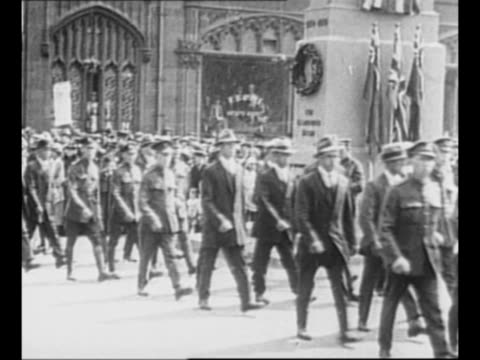 soldiers march in celebratory parade in dublin, followed by citizens, past a statue which is probably of irish politician sir john gray / officials... - 1920 stock videos & royalty-free footage