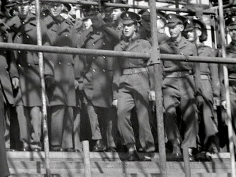 soldiers march on the spot to test the safety of the seating area built outside westminster abbey in preparation for the coronation of elizabeth the... - 1953 stock videos & royalty-free footage