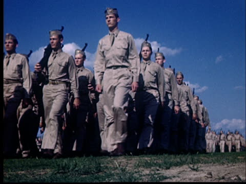 MS, LA, Soldiers marching, 1950's, Oklahoma, USA