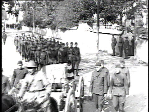 ws soldiers marching in a funeral procession the casket draped with an american flag and carried on a horsedrawn caisson / france - 1918 stock videos and b-roll footage