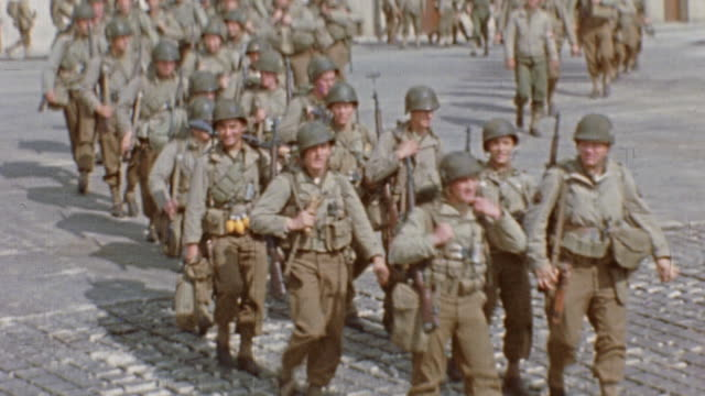 soldiers marching posing and smiling / normandy france - normandy stock videos & royalty-free footage