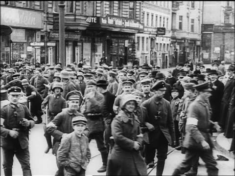 soldiers milling in street + staring at camera / germany / documentary - 1918 stock videos & royalty-free footage