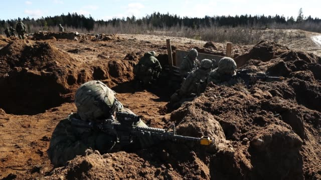 soldiers of us army chaos company 168 armor battalion of the 3rd brigade combat team 4th infantry division overrun an enemy position during a joint... - military exercise stock videos and b-roll footage