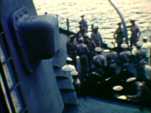 MS HA COMPOSITE Soldiers on board of vessel during Japanese surrender