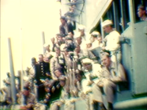 ms ha shaky composite soldiers on board of vessel during japanese surrender - shaky stock videos & royalty-free footage