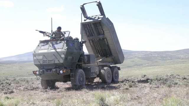 us soldiers operate an m142 high mobility artillery rocket system launcher in support of the joint warfighting assessment training at yaina training... - rocket launcher stock videos & royalty-free footage
