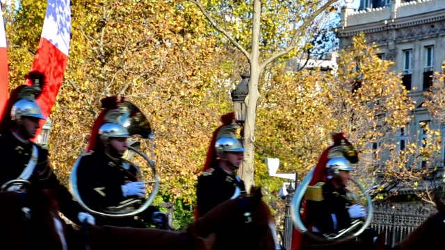 soldiers parading during the world war 1 remembrance day in paris france on champselysées - armistice stock videos and b-roll footage
