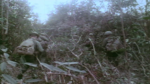 vidéos et rushes de soldiers patrolling in double files through heavy jungle vegetation / vietnam - armée américaine