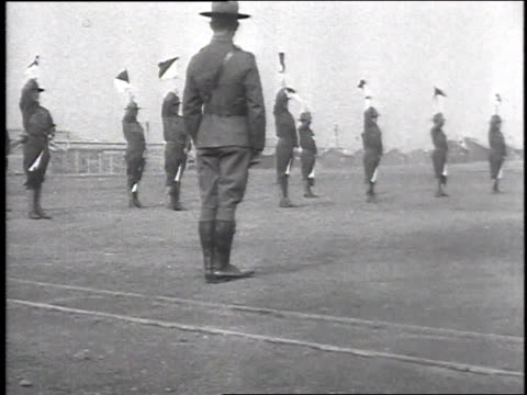 stockvideo's en b-roll-footage met ws soldiers practicing signals with flags / camp sherman chillicothe ohio united states - chillicothe