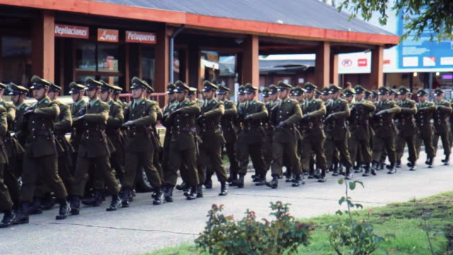 Soldiers preparing for march at military parade in Pucon, Chile