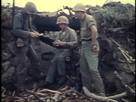 soldiers receiving mail letters / iwo jima japan - battle of iwo jima stock videos and b-roll footage
