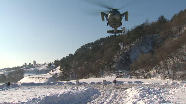 MS ZI Soldiers repelling down high-lines from helicopter / Gangwondo, South Korea