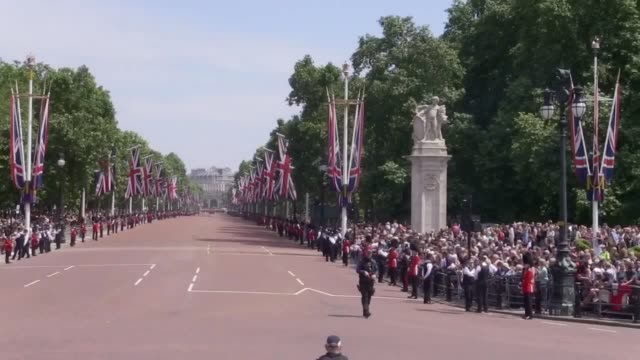 soldiers ride down the mall during the trooping the colour ceremony - trooping the colour stock videos & royalty-free footage