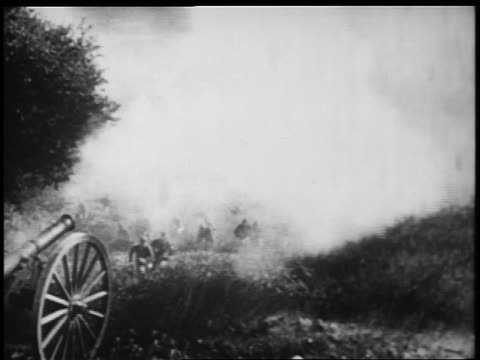 B/W 1898 REENACTMENT soldiers running thru smoke / charging up hill (2 shots) / Spanish-American war