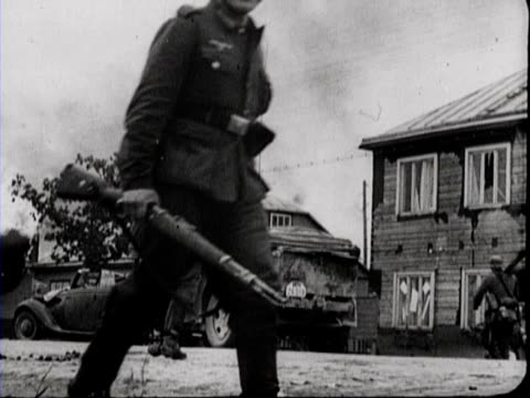 soldiers seek for cover at the side of the road a group of russian prisoners of war including a woman is captured - lithuania stock videos & royalty-free footage