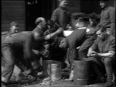 stockvideo's en b-roll-footage met soldiers sitting outside washing and peeling potatoes / camp sherman chillicothe ohio united states - chillicothe