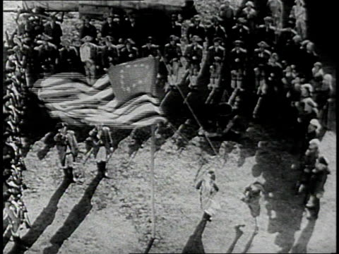 reenactment soldiers stand in formation as 13 star flag is raised / united states - world war one stock videos & royalty-free footage