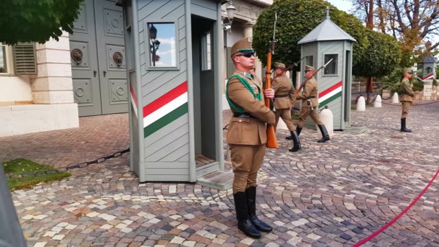 Soldiers Standing Guard at Sándor Palace in Budapest