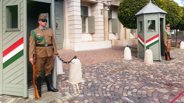 vídeos de stock, filmes e b-roll de soldiers standing guard at sándor palace in budapest - uniforme militar