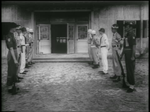 soldiers standing in lines in front of building where korean war armistice is signed - 1953 stock videos & royalty-free footage