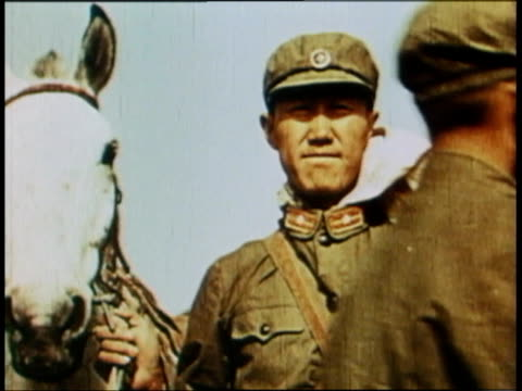 soldiers standing with horses in gas masks / beijing, china - cinque animali video stock e b–roll