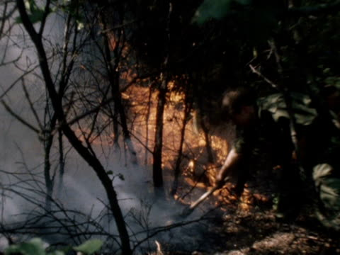 soldiers tackle a forest fire during the heatwave of 1976 - 1976 stock videos and b-roll footage