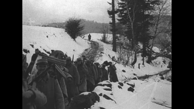 vidéos et rushes de soldiers walking along trail carrying equipment for making fence, snow on ground / soldiers building wire fence along trail / soldiers standing in... - première guerre mondiale