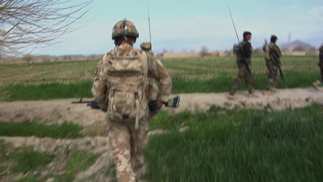 stockvideo's en b-roll-footage met soldiers walking in field / musa qala helmand province afghanistan - britse leger