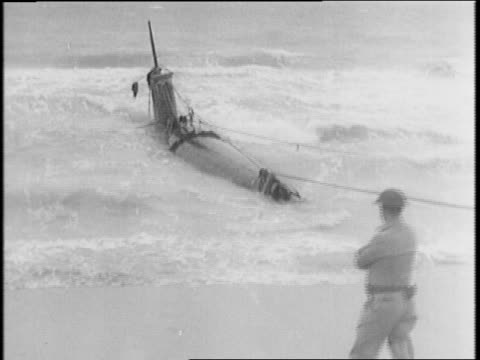 soldiers walking near a captured japanese suicide twoman submarine - bobsleighing stock videos & royalty-free footage