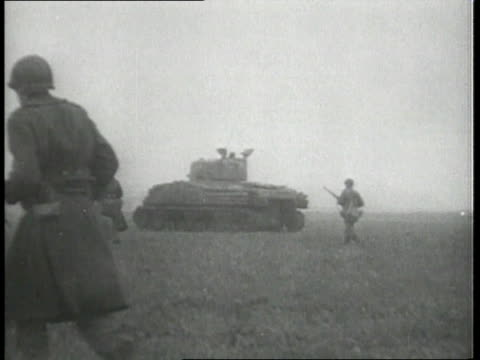 soldiers walking with tanks, running, and firing guns / hagenburg, germany - 1944 stock videos & royalty-free footage